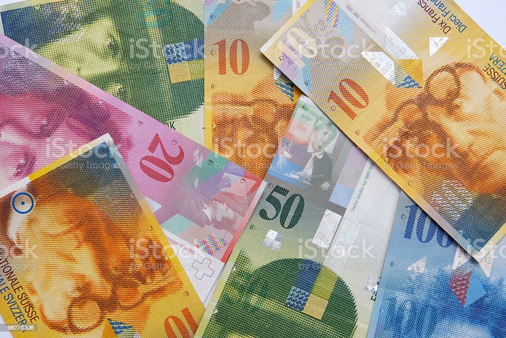 notes of swiss francs currency royalty-free stock photo
