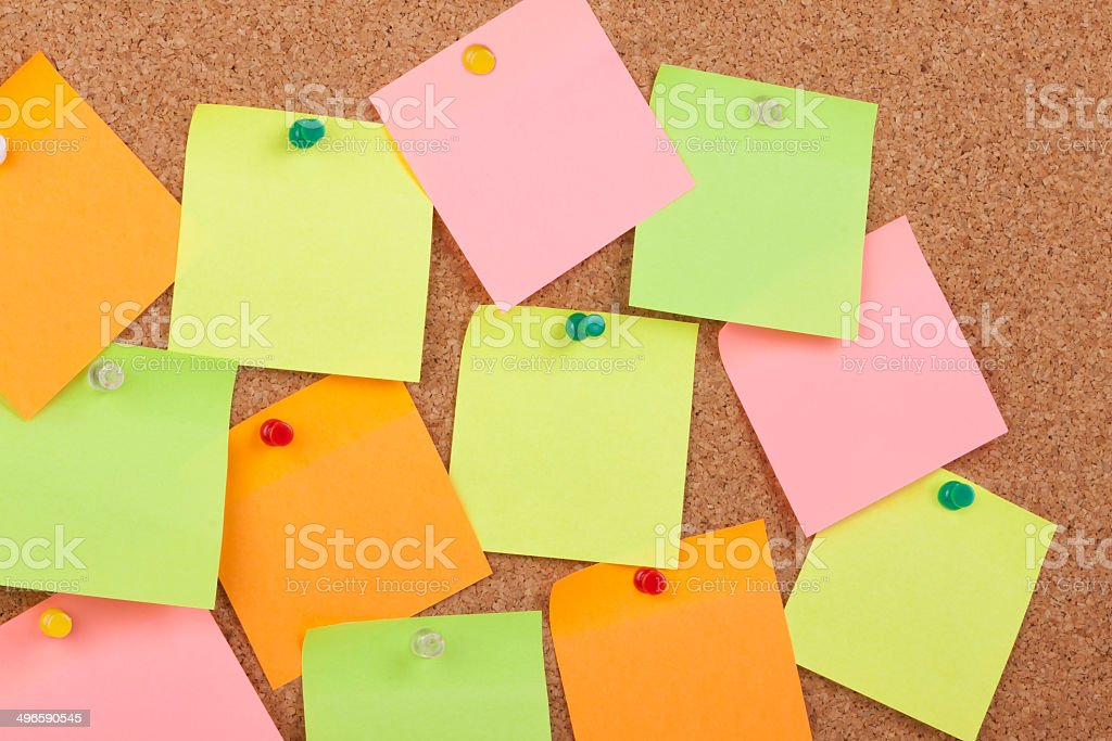 Notes On Cork Board royalty-free stock photo