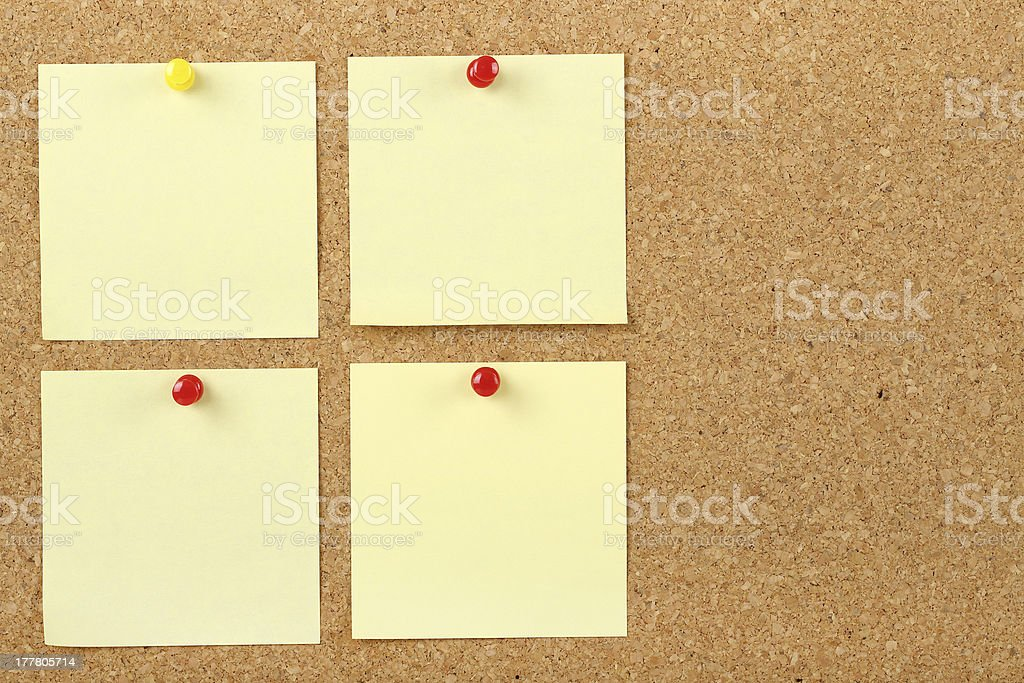 notes on corkboard royalty-free stock photo