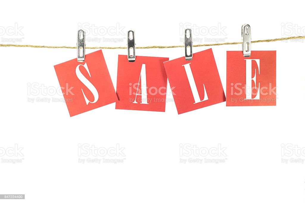 Notes paper cards in clothes pegs on rope stock photo
