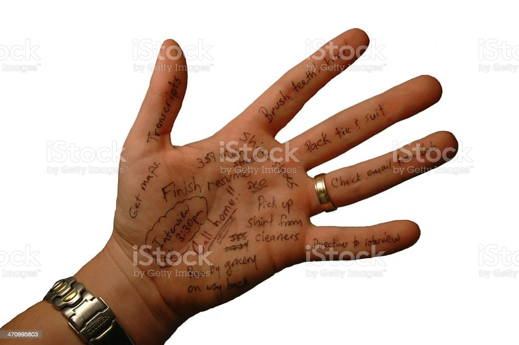 Notes Scribbled on Hand with Clipping Path stock photo