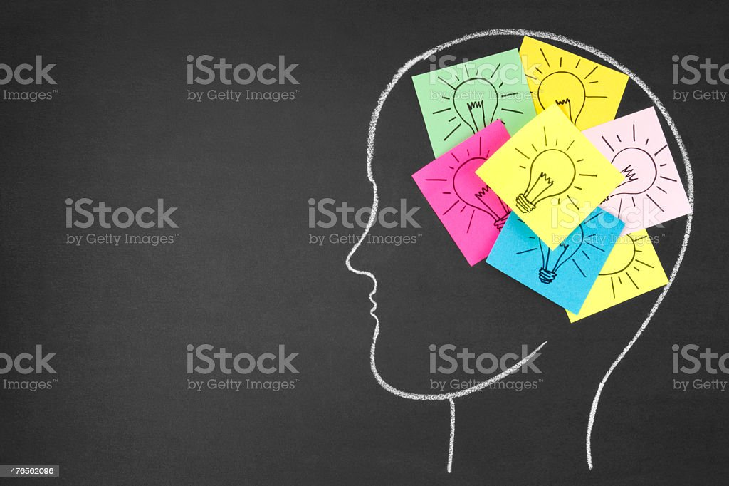 Notes with Light Bulbs Inside Human Head on Chalkboard stock photo