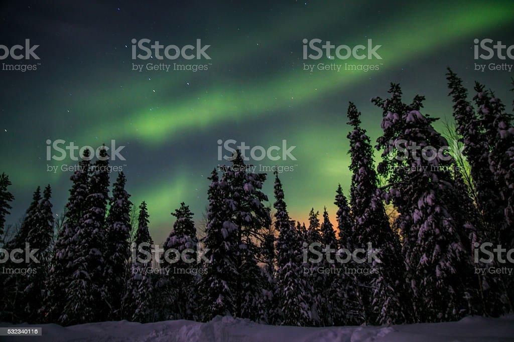 Nothern lights in Akaslompolo, Finish Lapland stock photo