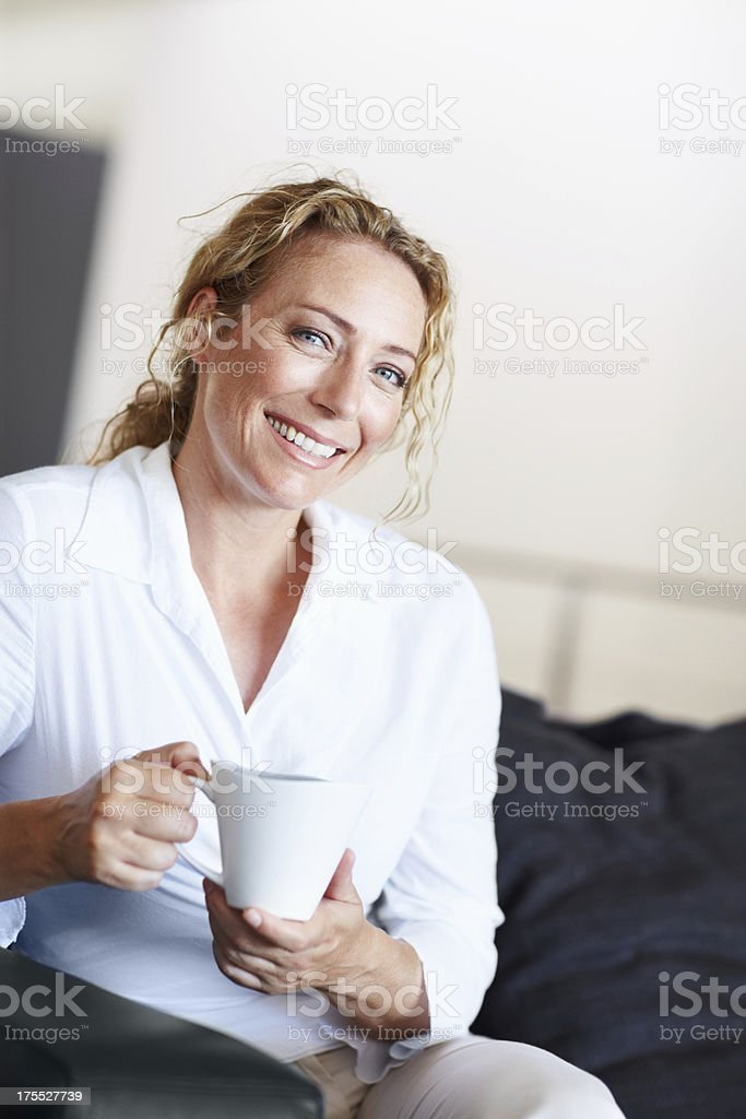 Nothing beats a cup of coffee royalty-free stock photo