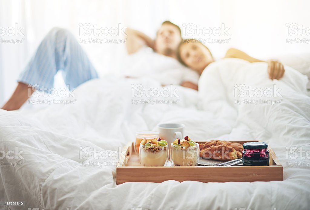 Nothing better than breakfast in bed stock photo