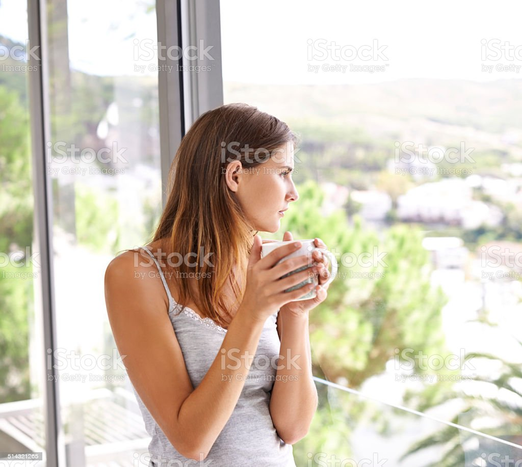Nothing better than coffee and a good view stock photo