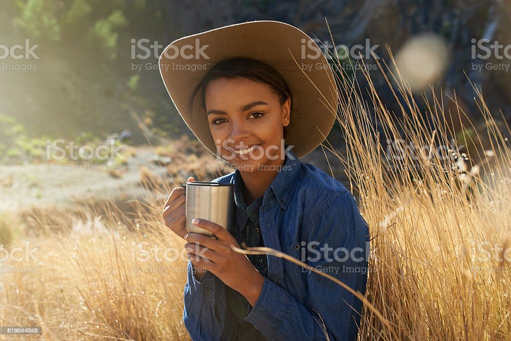 Nothing better than good coffee with a beautiful view stock photo