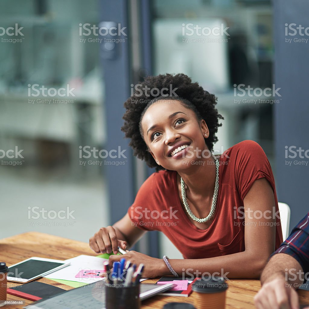 Nothing compares to seeing her ideas realized stock photo