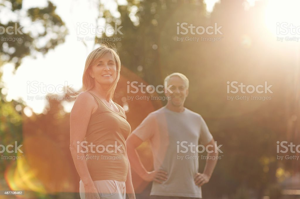 Nothing like a partner in fitness stock photo