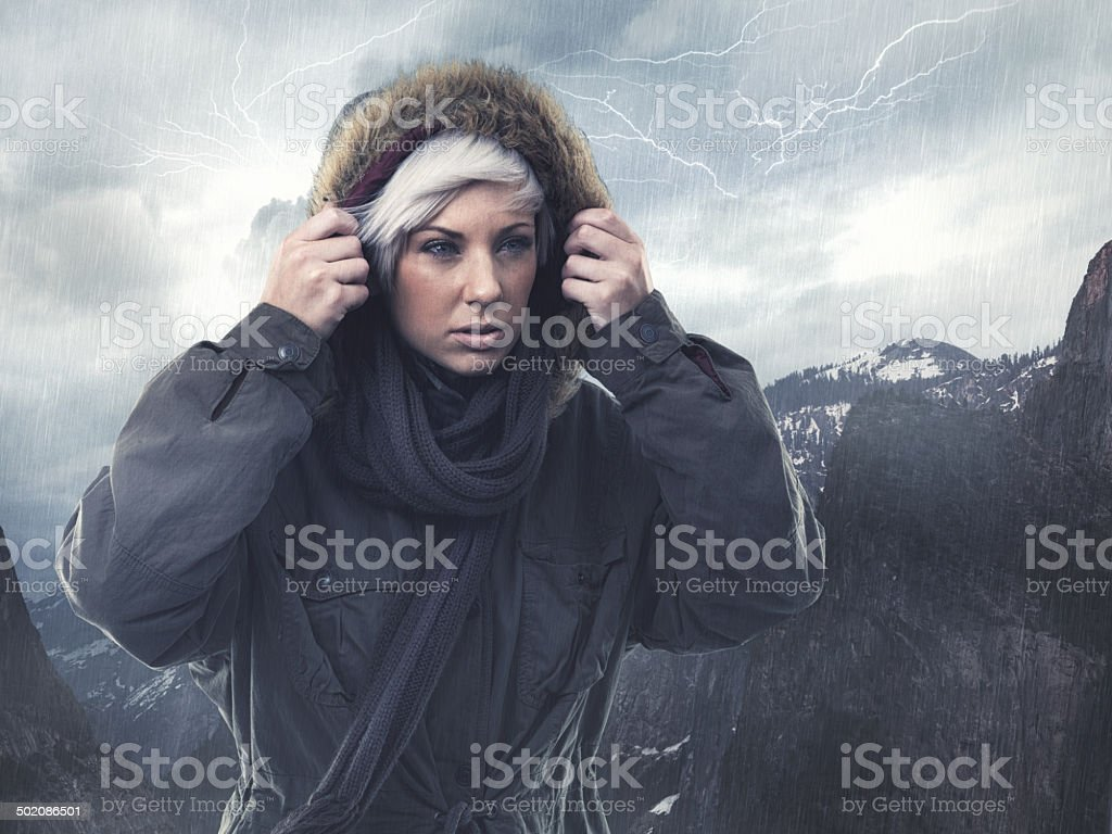 Nothing will stop her determination to reach the top stock photo