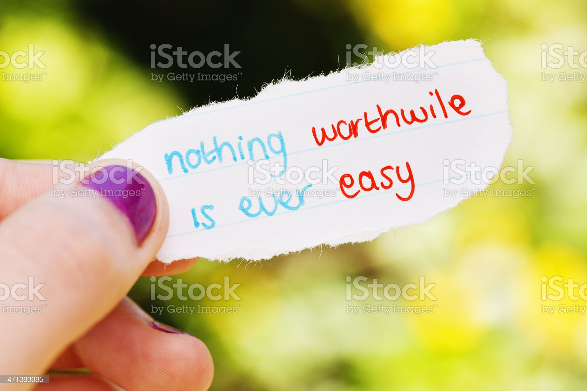 Nothing worthwhile is ever easy says hand-drawn note royalty-free stock photo