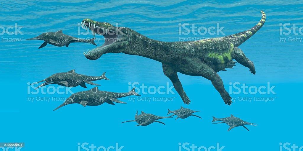 Nothosaurus attacks Shonisaurus stock photo