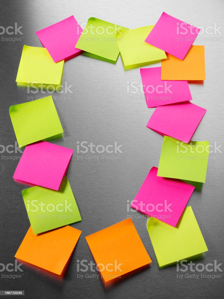 Notice Board with Adhesive Labels stock photo