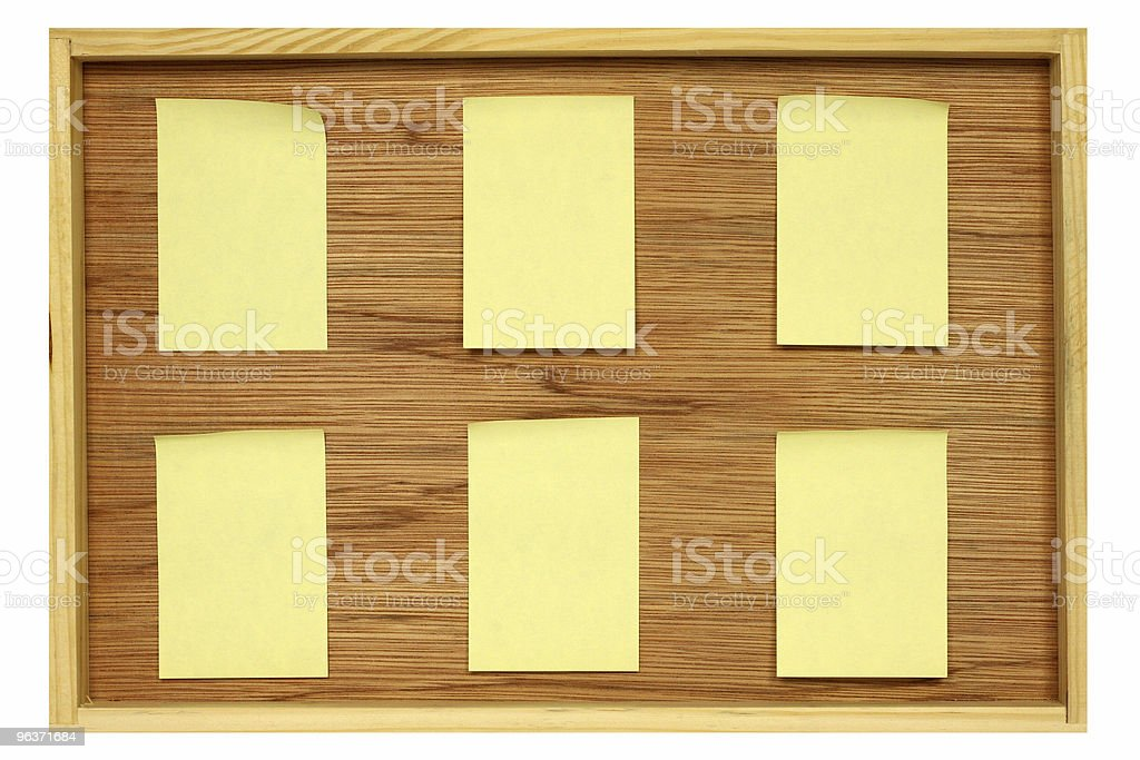 Notice board with six blank stickies stock photo