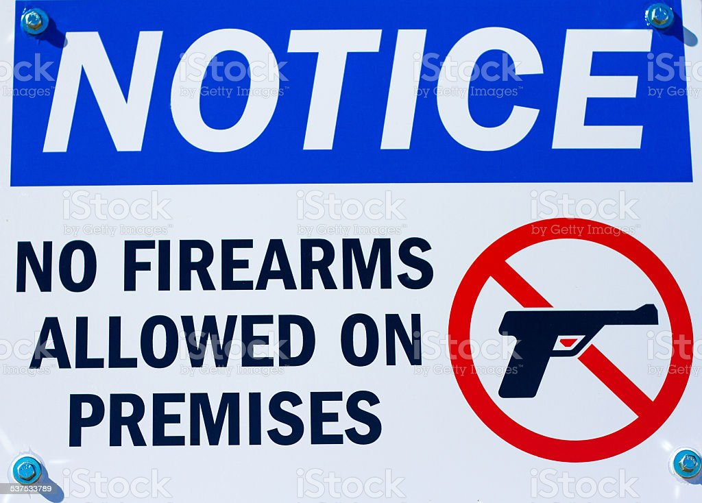 Notice for Gun-Free Zone stock photo