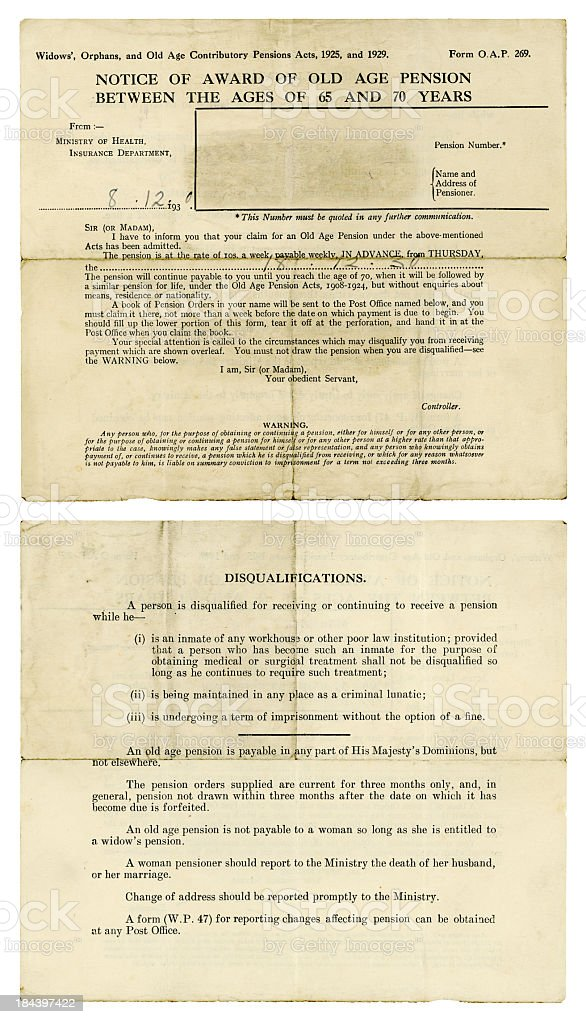 Notice of British Old Age Pension, 1930 stock photo