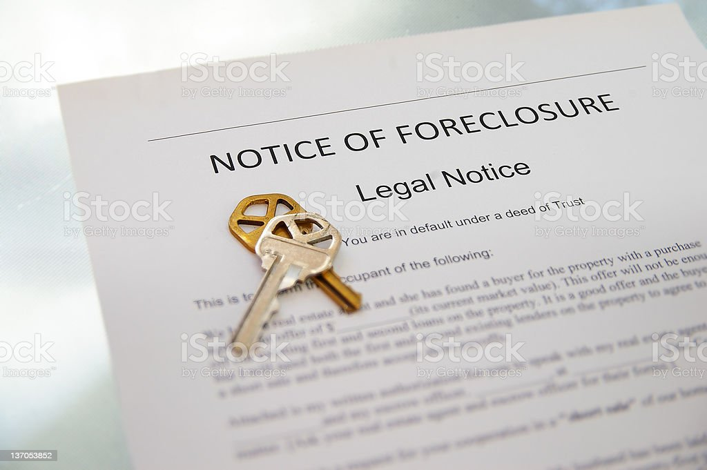 notice of foreclosure stock photo