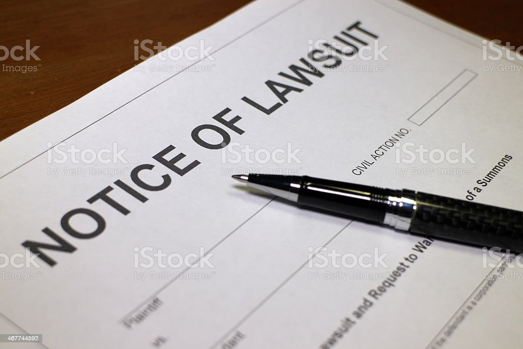 Notice of Lawsuit stock photo