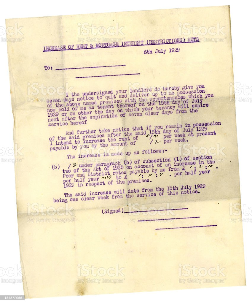 Notice to quit or increase of rent, 1929 stock photo