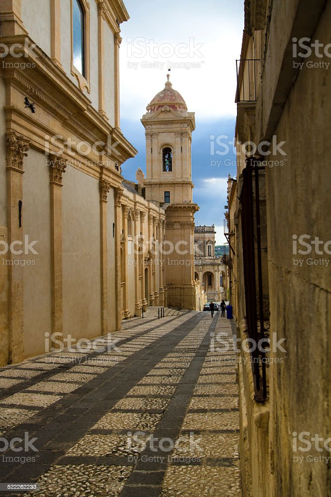 Noto Cathedral (Side View) in Noto, Sicily, Italy stock photo