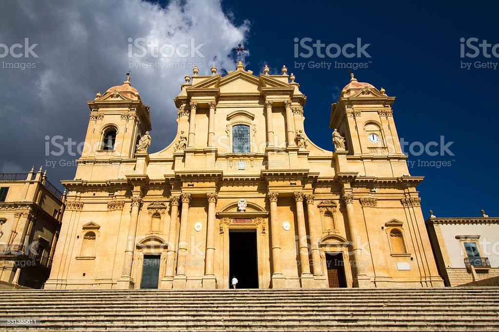 Noto Cathedral in Noto, Sicily, Italy stock photo
