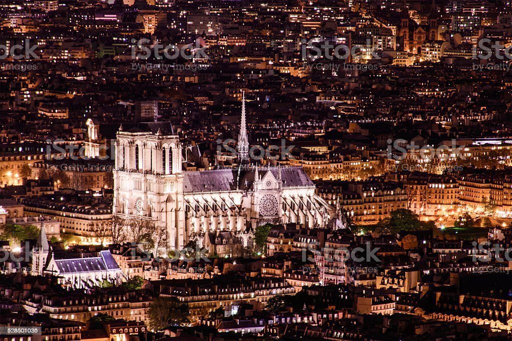 Notre Dam, Paris in the night stock photo