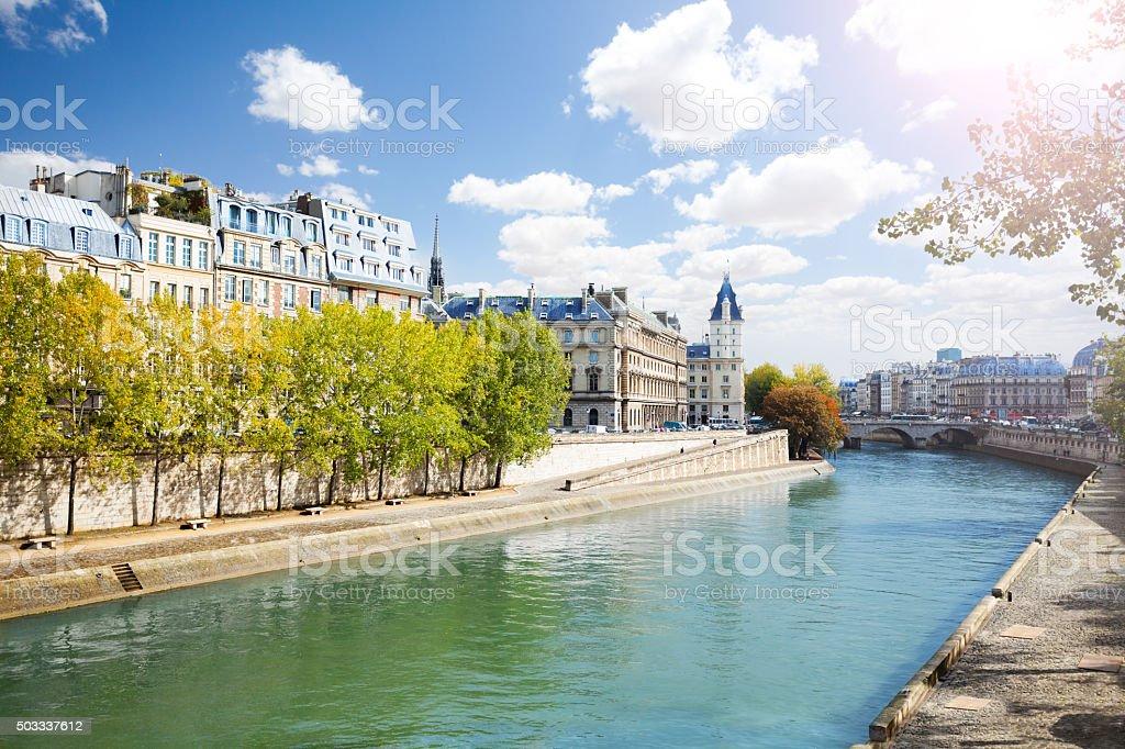 Notre Dame along the Seine river stock photo