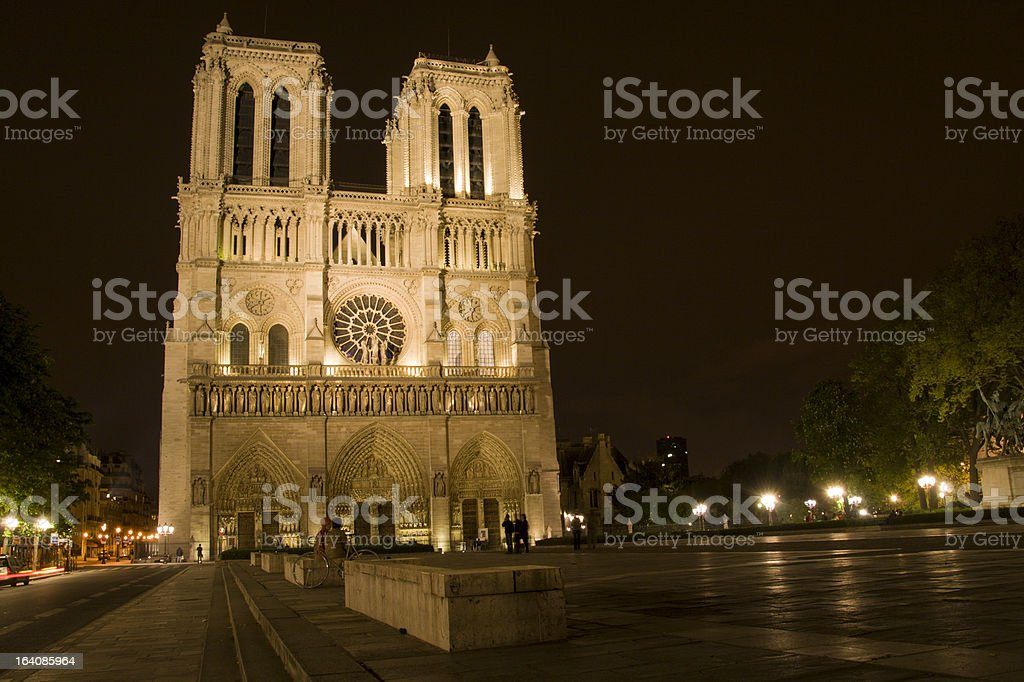 Notre dame at night in Paris royalty-free stock photo
