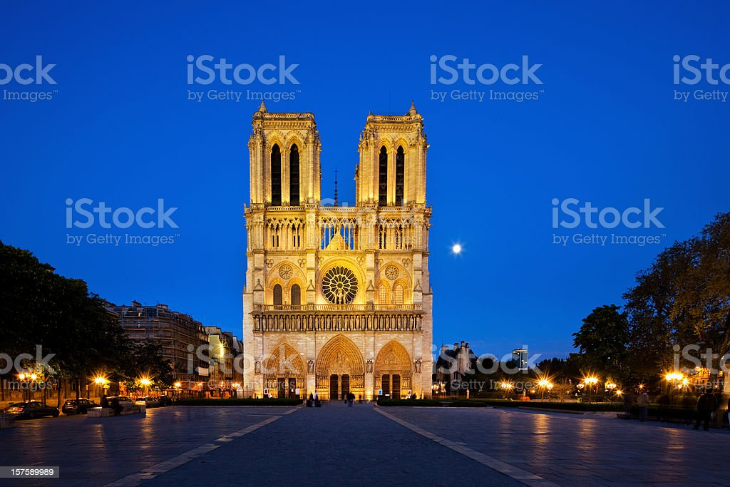Notre Dame at night stock photo