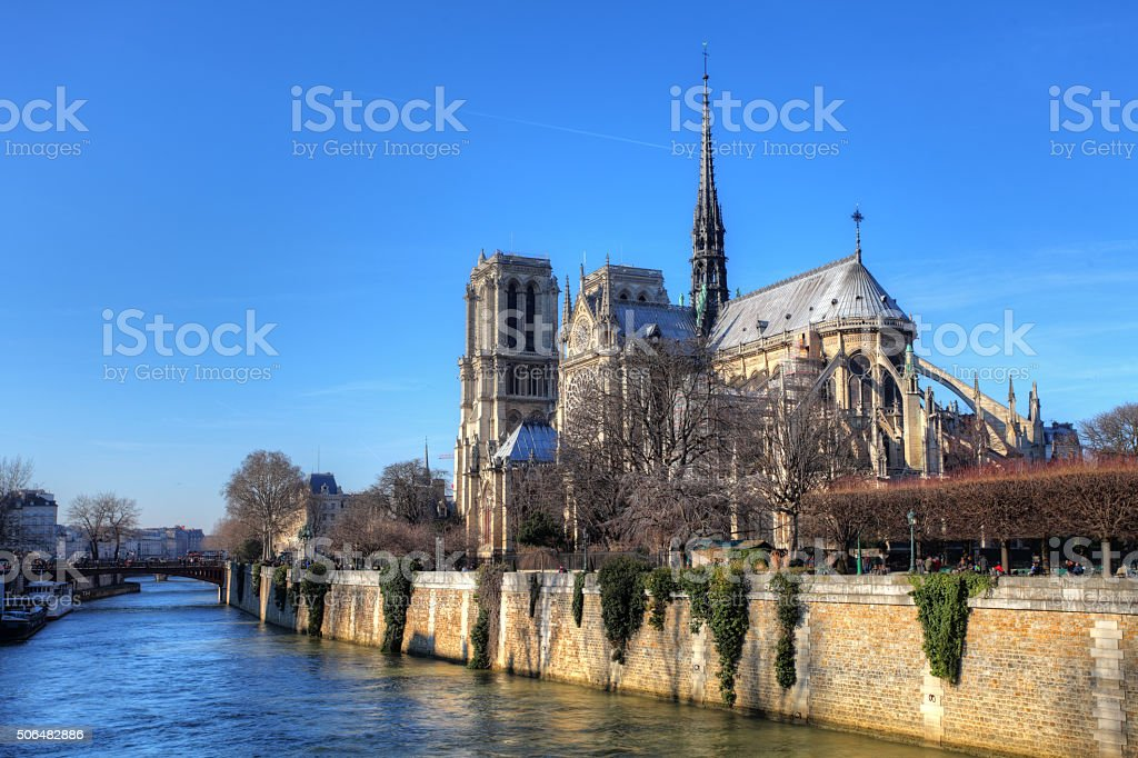 Notre Dame at sunrise - Paris, France stock photo