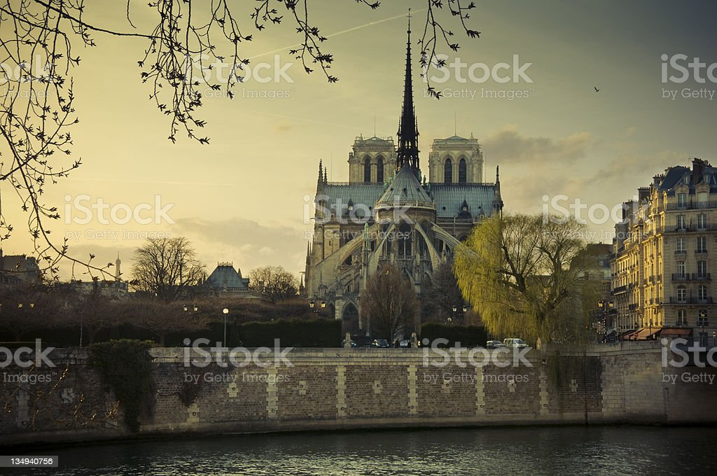 Notre Dame at sunset stock photo