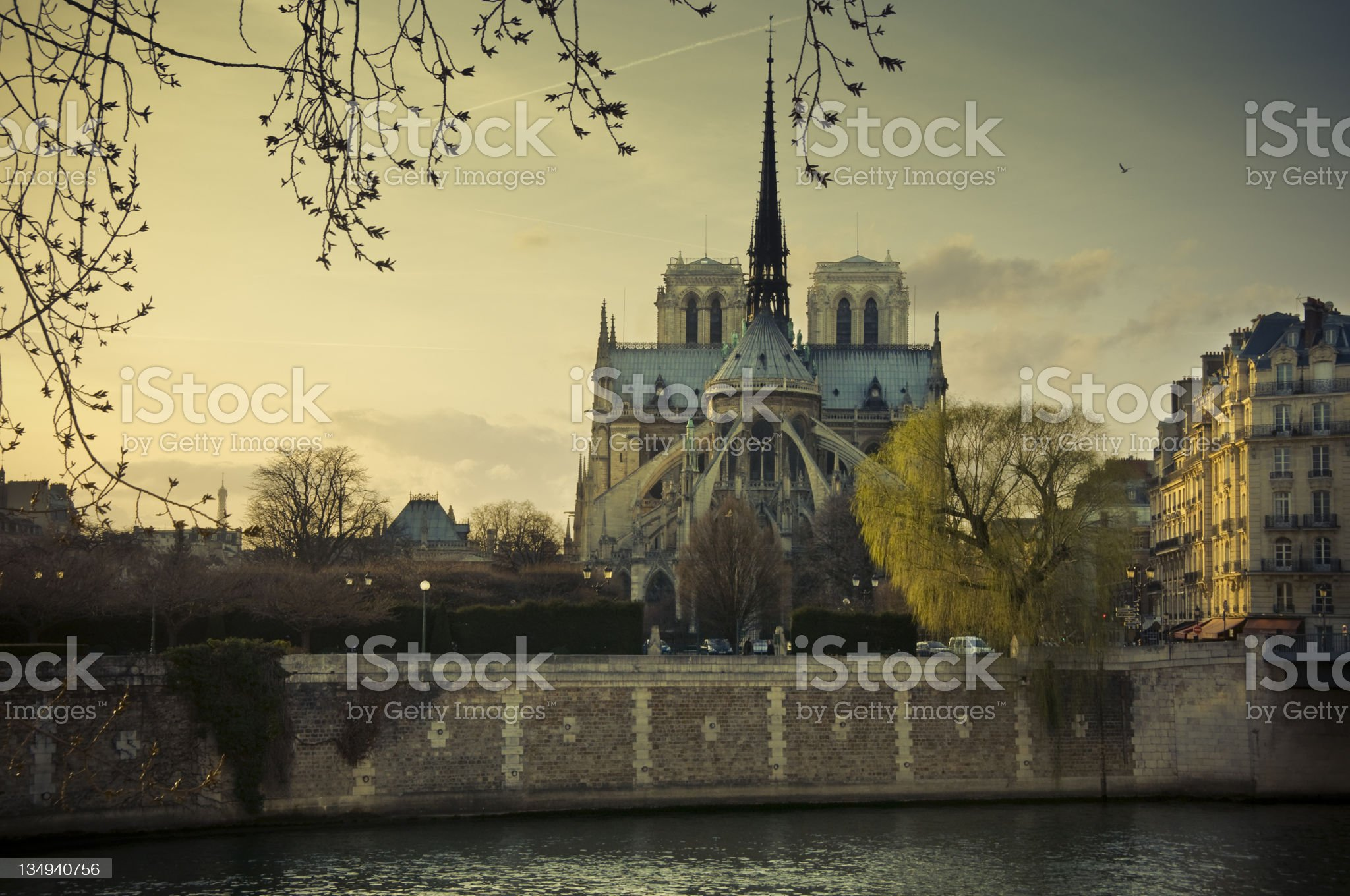 Notre Dame at sunset royalty-free stock photo