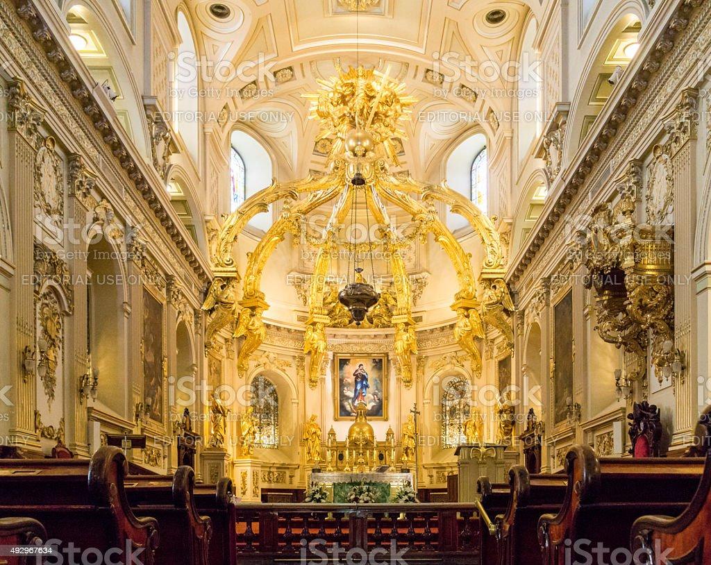 Notre Dame Basilica in Quebec City stock photo