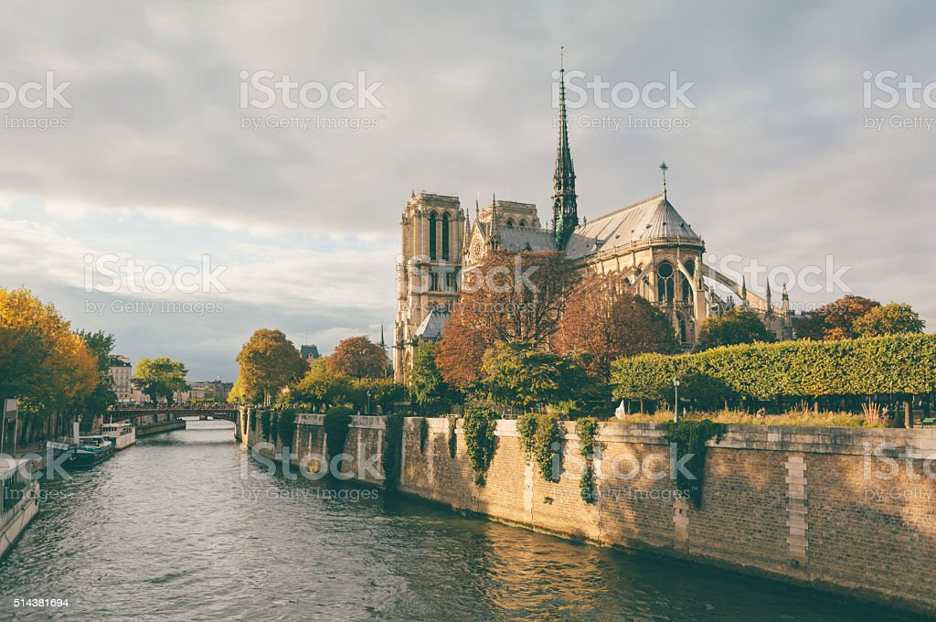 Notre Dame cathedral and Seine river in Paris (Paris, France) stock photo