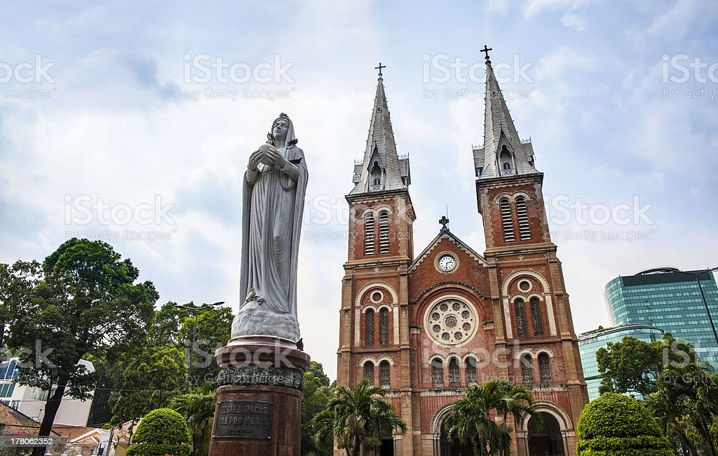 Notre Dame Cathedral and statue, Ho Chi Minh City, Vietnam  stock photo