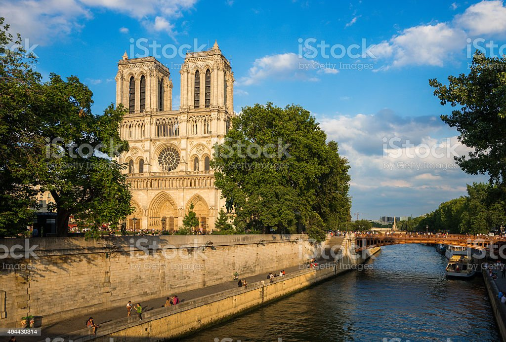 Notre Dame cathedral at late evening stock photo