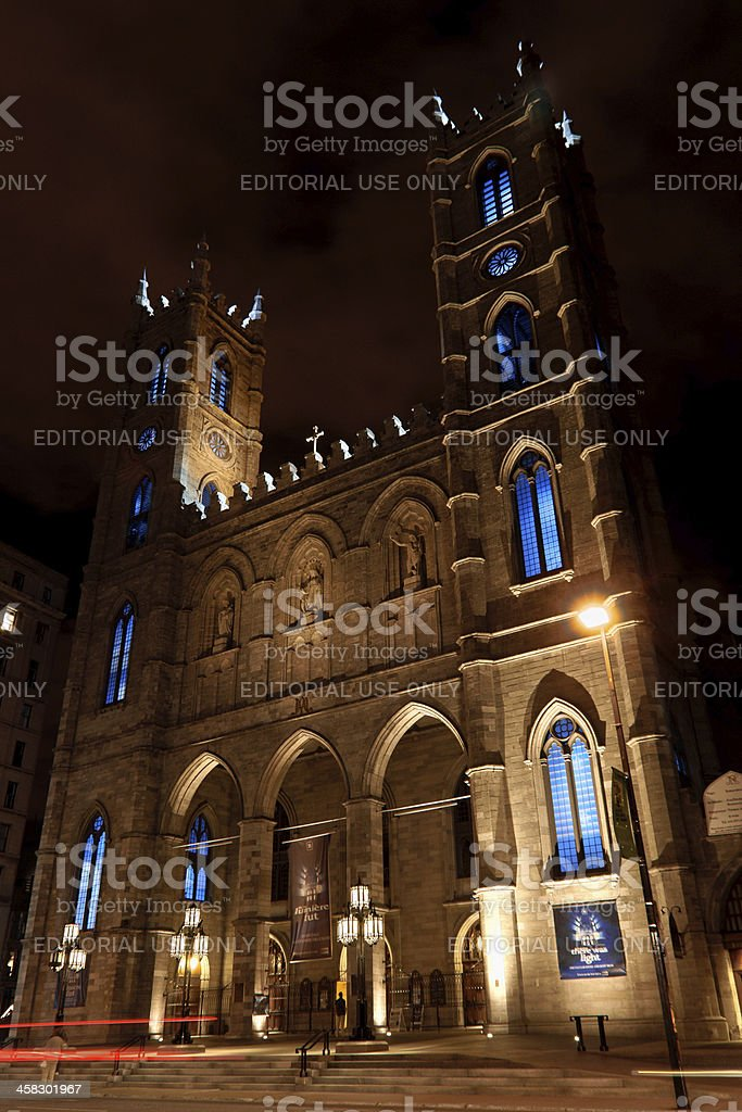 Notre Dame Cathedral by night in Montreal, Canada royalty-free stock photo