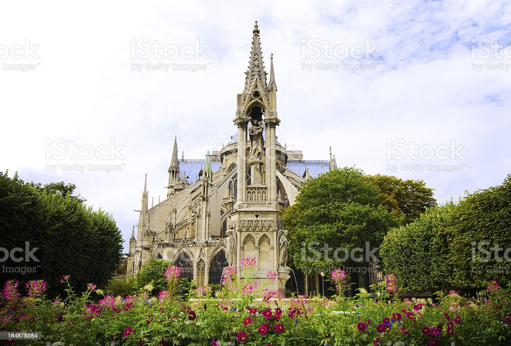Notre Dame Cathedral from Square du Jean XXIII in Paris stock photo