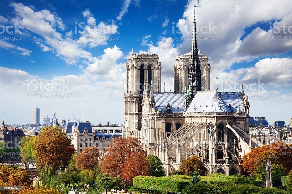 Notre Dame cathedral in Paris from roof stock photo