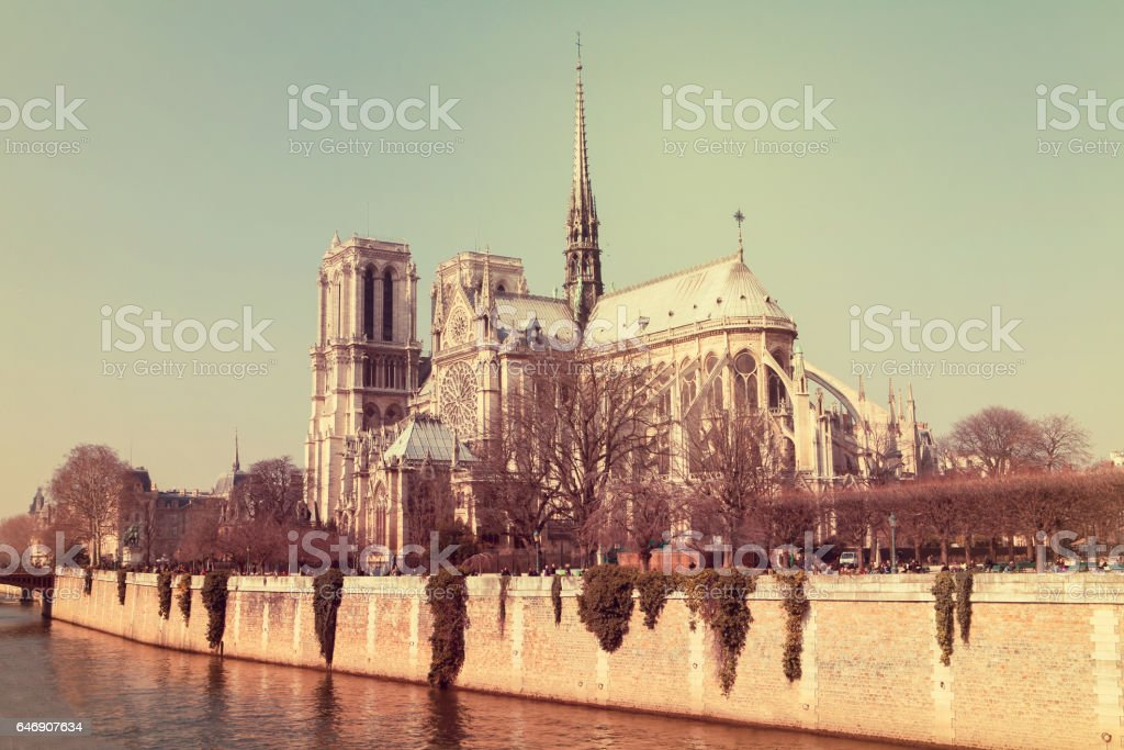 Notre Dame cathedral in the center of Paris, France, on a sunny day stock photo