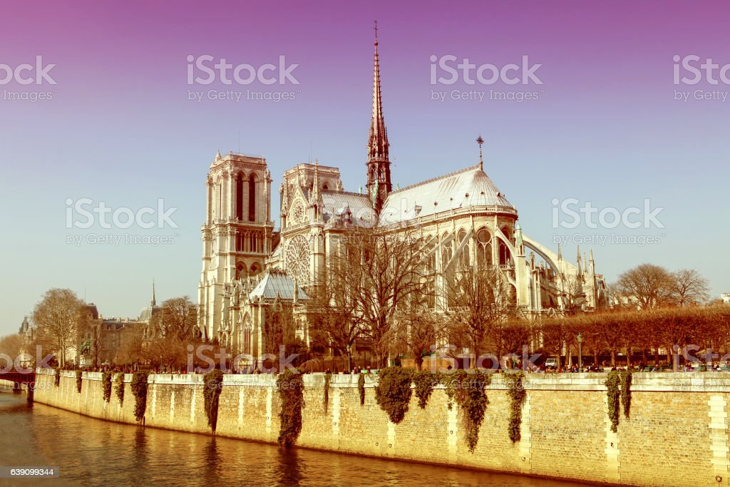 Notre Dame cathedral in the center of Paris, France stock photo