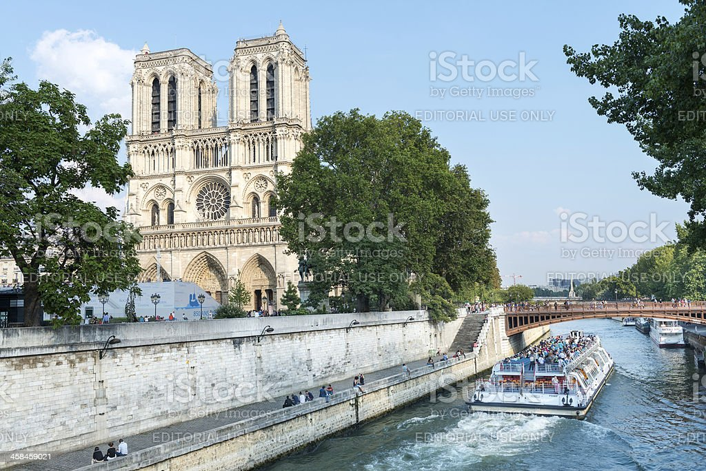 Notre Dame Cathedral Paris, with Seine in Foreground royalty-free stock photo