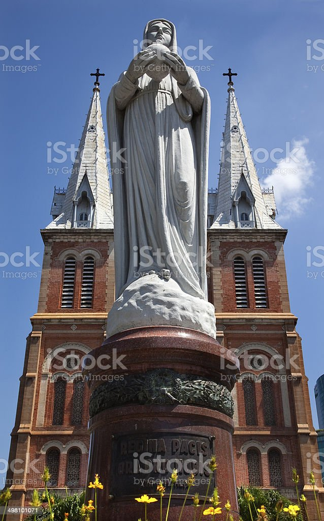 Notre Dame Catherdral Vigin Mary Statue Saigon Vietnam stock photo