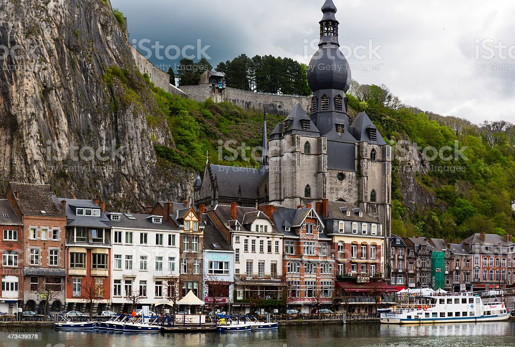 Notre Dame church in Dinant stock photo