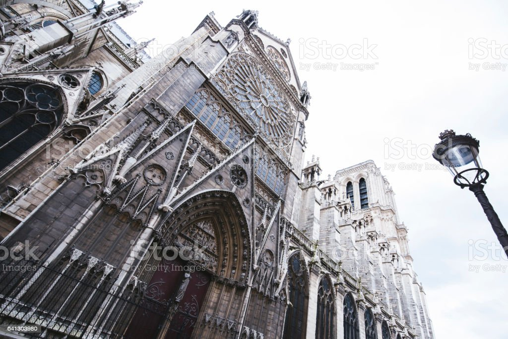 Notre Dame church in Paris stock photo