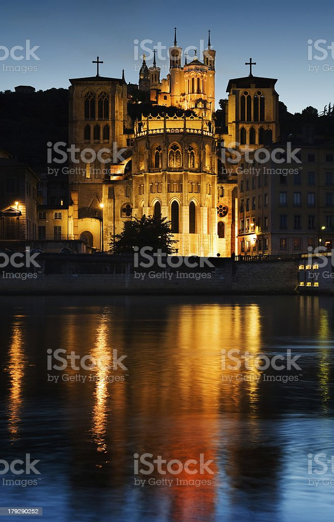 Notre Dame de Fourviere in Lyon illuminated royalty-free stock photo