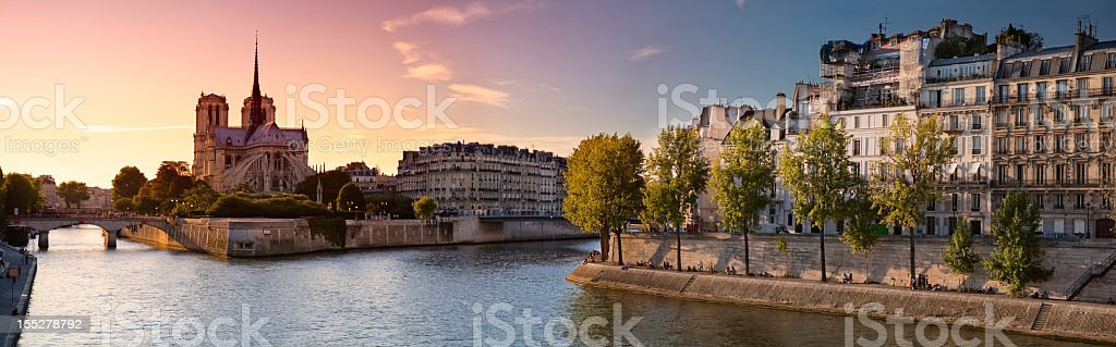 Notre Dame de Paris and Ile Saint Louis stock photo