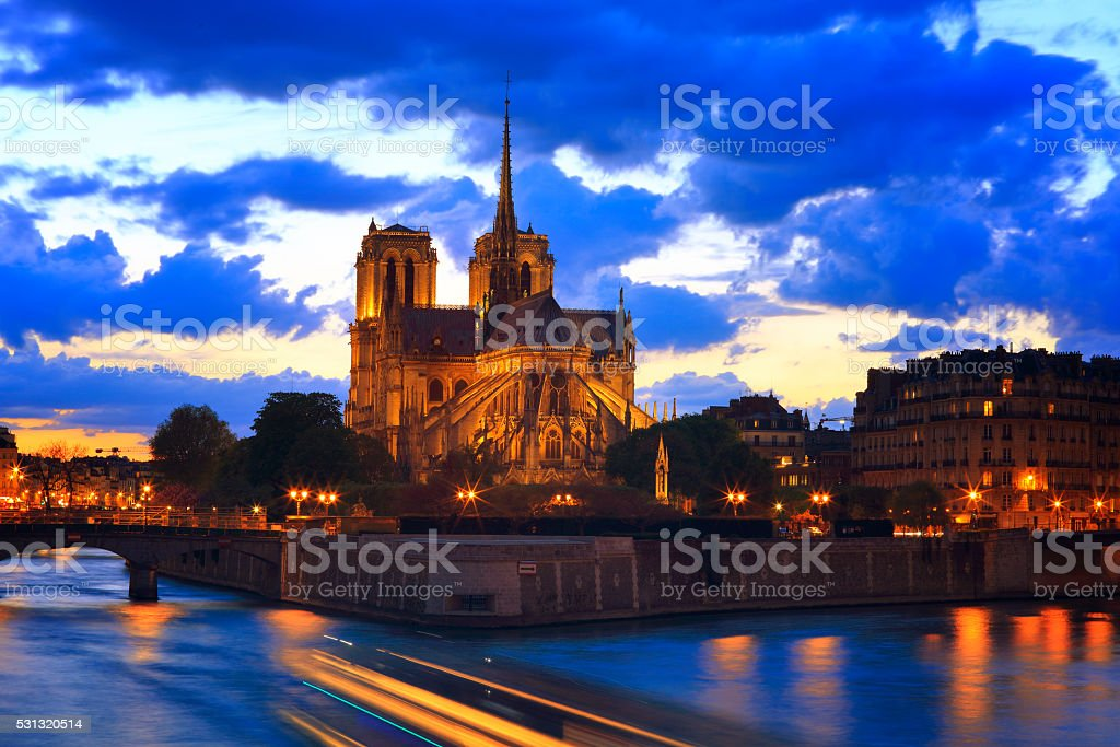 Notre Dame de Paris at night (50 mp) stock photo