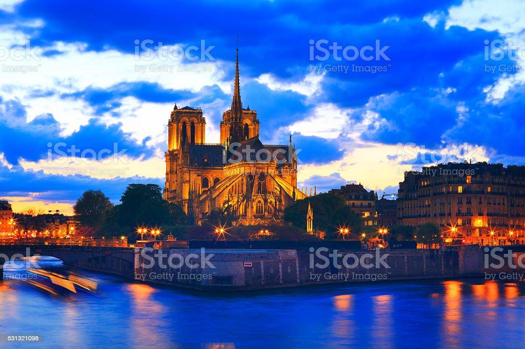 Notre Dame de Paris at night (50 mp) stock photo