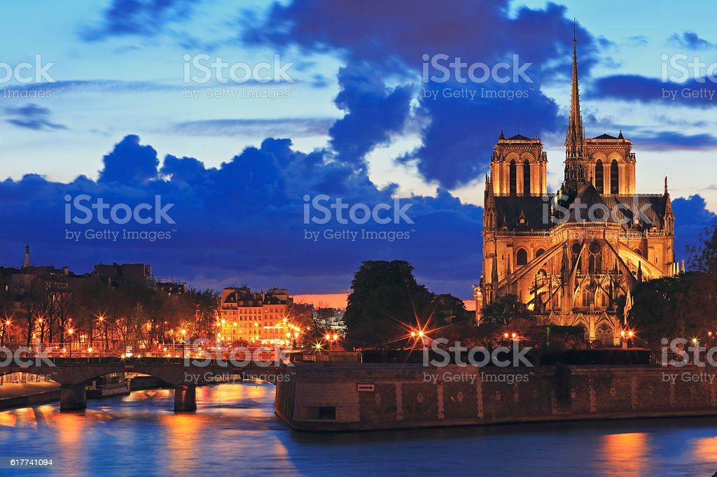 Notre Dame de Paris at night stock photo
